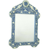 Mother of Pearl Inlay Bird Design Mirror Frame in Blue