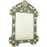 Mother of Pearl Inlay Bird Design Mirror Frame in Black