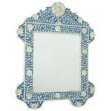 Floral Design Mother of Pearl Inlay Mirror Frame in Blue