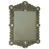 Floral Design Mother of Pearl Inlay Mirror frame in Black