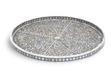 Round Mother of Pearl Inlay Floral Tray in Grey- Large