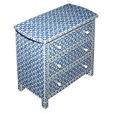 Geometric Design Bone Inlay Chest of 3 Drawers Navy Blue