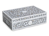 Handmade Floral Design Mother of Pearl Inlay Vanity Box in Grey