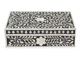 Handmade Floral Design Bone Inlay Vanity Box in Black