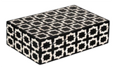 Marrakech Pattern Black and Bone Inlay Vanity Box