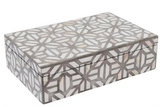 Geometric Design Grey and Bone Inlay Vanity Box
