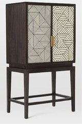 Bone Inlay Bar Cabinet Geometric Design in White