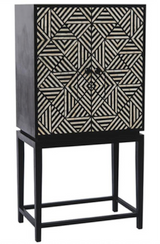 Bone Inlay Geometric Design Bar Cabinet  in Black