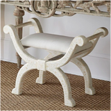Floral Design Bone Inlay Stool Roman Stool in White