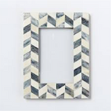 Geometric Pattern Coloured Bone Inlay Photo Frame Grey