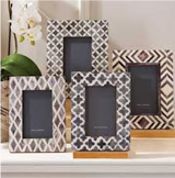 Geometric Pattern Coloured Bone Inlay Photo Frame - Set of 4