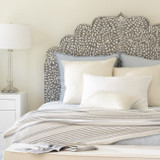 Mother of Pearl Inlay Floral Headboard / Bedhead in Grey / Queen Size