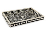 Bone Inlay Floral Tray in Black, Decorative Rectangular Tray