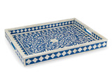 Bone Inlay Floral Tray in Blue, Decorative Rectangular Tray