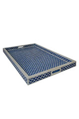 Bone Inlay Fish Scale Tray in Blue, Decorative Rectangular Tray