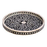 Round Bone Inlay Floral Tray in Black