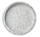 Round Mother of Pearl Inlay Floral Tray in White