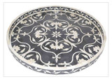 Round Bone Inlay Floral Tray in Black- Large