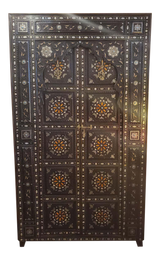 Antique Metal and Bone Inlay Wooden Door