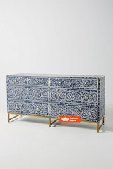 Floral Intertwine Chest of 6 Drawers in Navy Blue