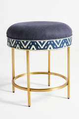 Ikat Bone Inlay Stool / Side table in Blue