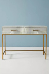 Striped Bone Inlay Console in Grey