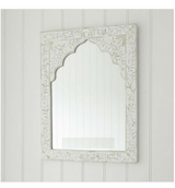 Mandir Bone Inlay Mirror in White