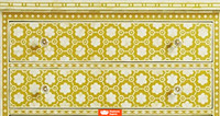 Bone Inlay Chest of 3 Drawers in Mustard Colour Floral