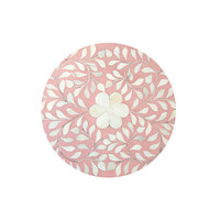 Soft Pink and White Bone Inlay Floral 4 Drawer Tall Chest