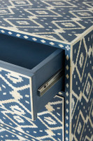 Ikkat Design Handmade Bone Inlay Chest of 3 Drawers Table in Blue