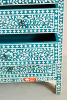 Bone Inlay Chest of 7 Drawers in Teal Green