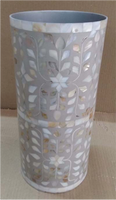 Mother of Pearl Inlay Vase Leaf Pattern Pale Grey - Set of 3
