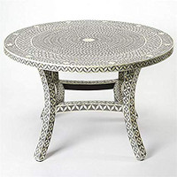 Bone Inlay Dining Table with Chairs Floral Grey