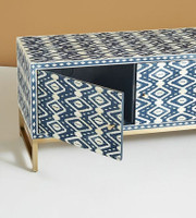 Ikkat Bone Inlay Media Console in Blue