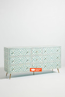 Moroccan Bone Inlay Chest of 9 Drawers in  Light Green