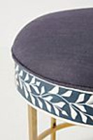Floral Intertwine Bone Inlay Stool / Side table in Navy Blue