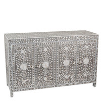 Mother of Pearl Inlay 4 Door Buffet Table Floral Design in Grey