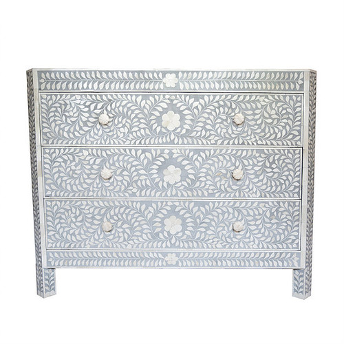 Bone Inlay Floral 3 Drawer Chest in Grey and White