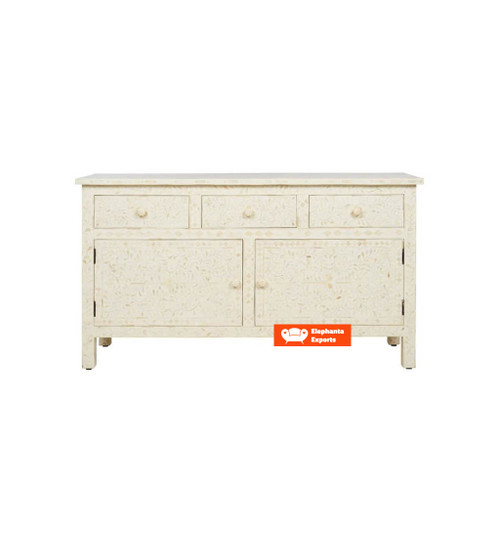 Floral Bone Inlay 3 Drawers and 2 Door Side Board in White
