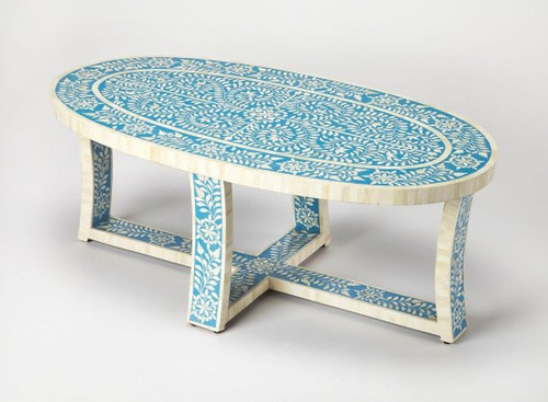 Handmade Oval Floral Design Bone Inlay Coffee table in Blue