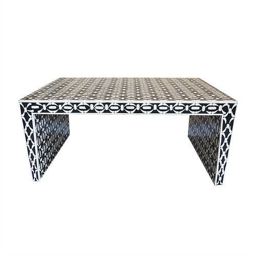 Black and White Bone Inlay Geometric Coffee Table