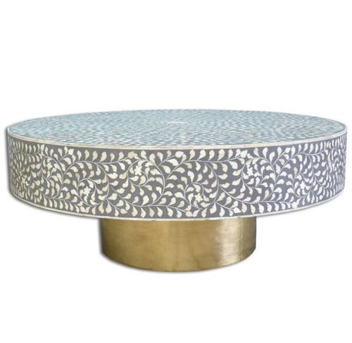 Bone Inlay Coffee Table in Floral Design with Brass Polished Base in Grey