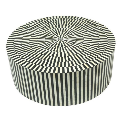 Black Striped Round Bone Inlay Coffee Table