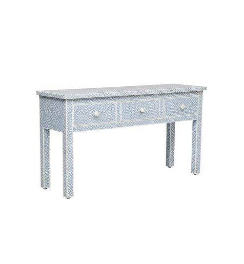Bone Inlay 3 drawers Console table in Light Blue