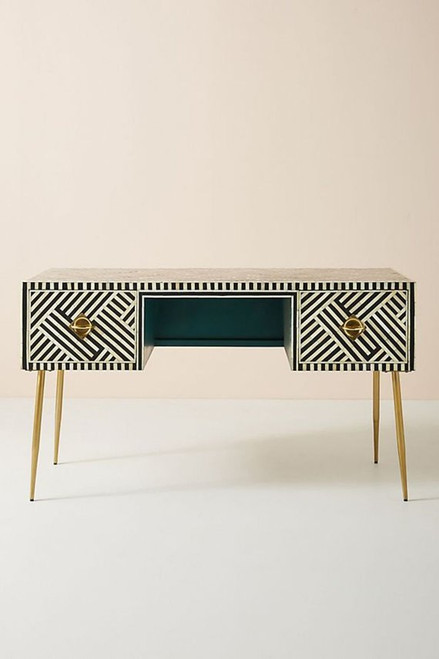 Bone inlay Two Drawers Console table in Black & White Stripe with Brass Legs