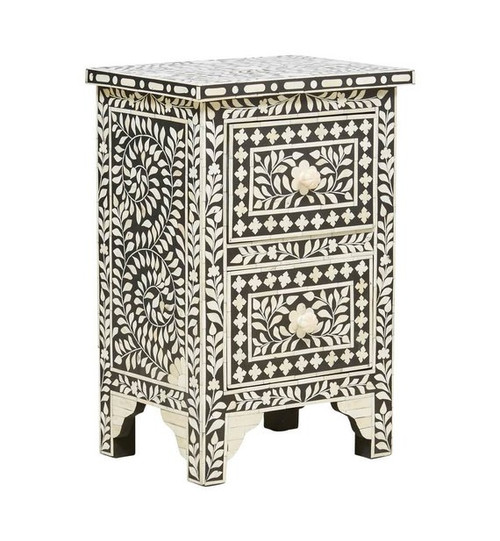 Bone Inlay Two Drawer Bedside / Nightstand