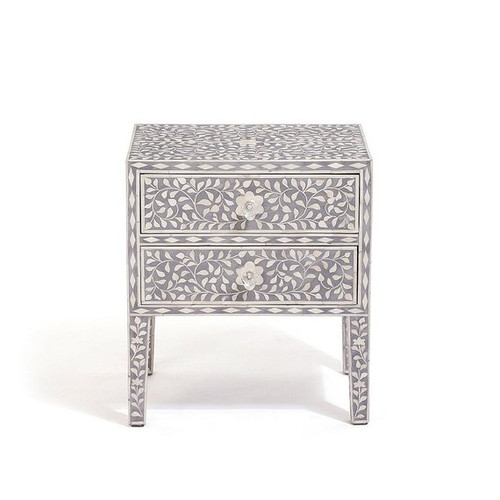 Bone Inlay Two Drawer Bedside Grey Color