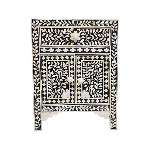 Black Bone Inlay Floral Bedside Table 1 Drawer 2 Doors
