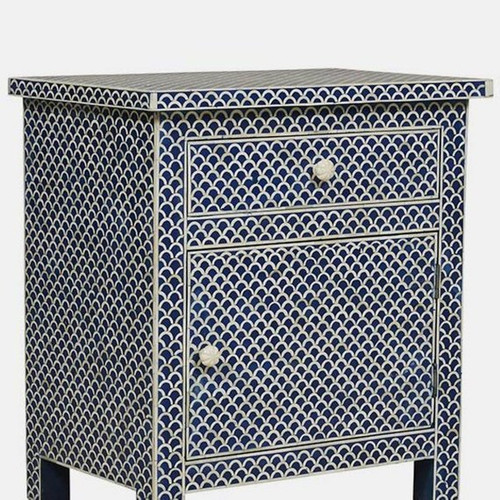 Bone Inlay Blue Bedside Table Fish Scale Design
