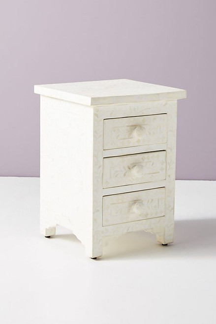 Floral Design Bone Inlay Three Drawers Bedside Table in White